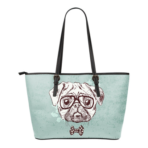 Image of Bull Dog Small Leather Tote Bag