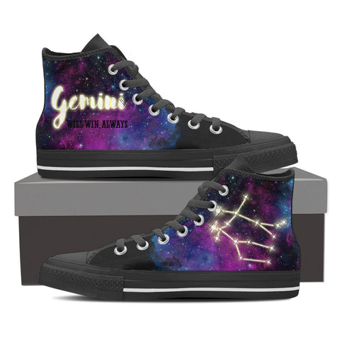 Image of GEMINI  Constellation Galaxy Women Black High Top Shoes