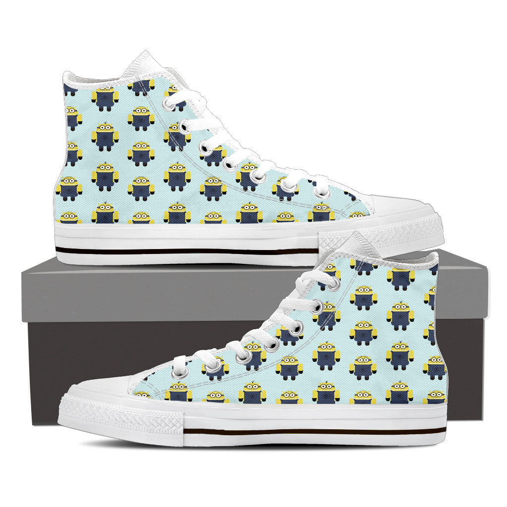 Minion Pattern Women Black High Top Shoes