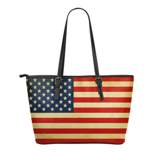 America Flag Small Leather Tote Bag