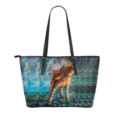 Image of Dog Small Leather Tote Bag