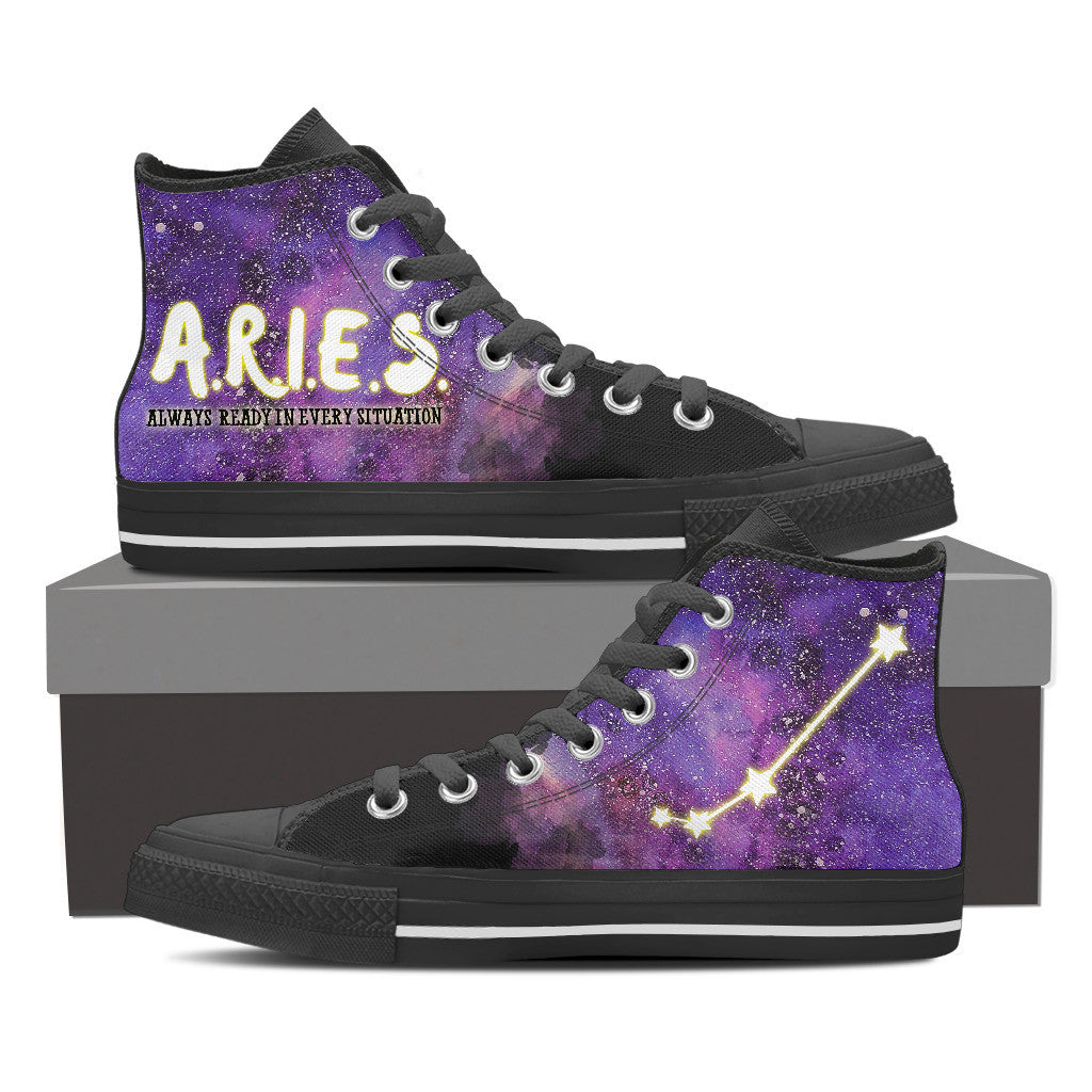 Aries Constellation Galaxy Women Black High Top Shoes