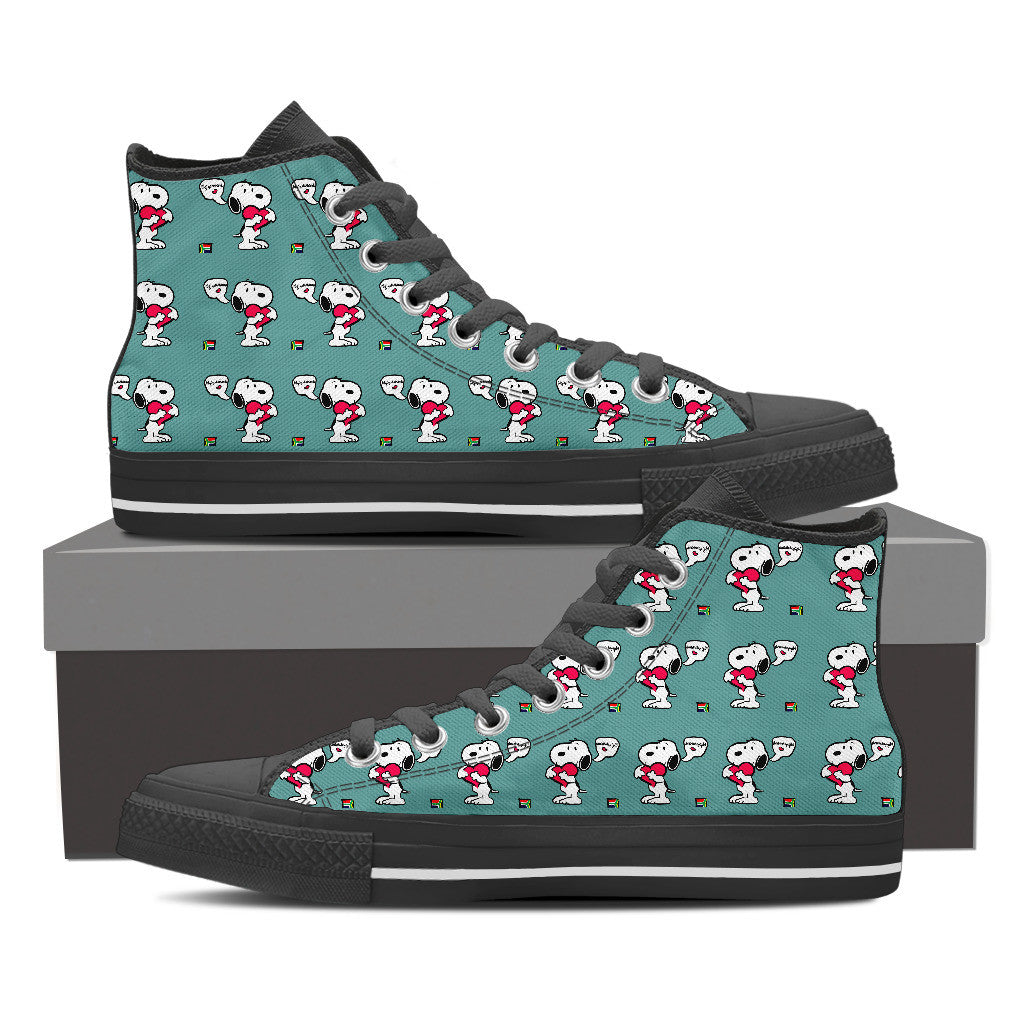 Snoopy Pattern Women High Top Canvas Shoes