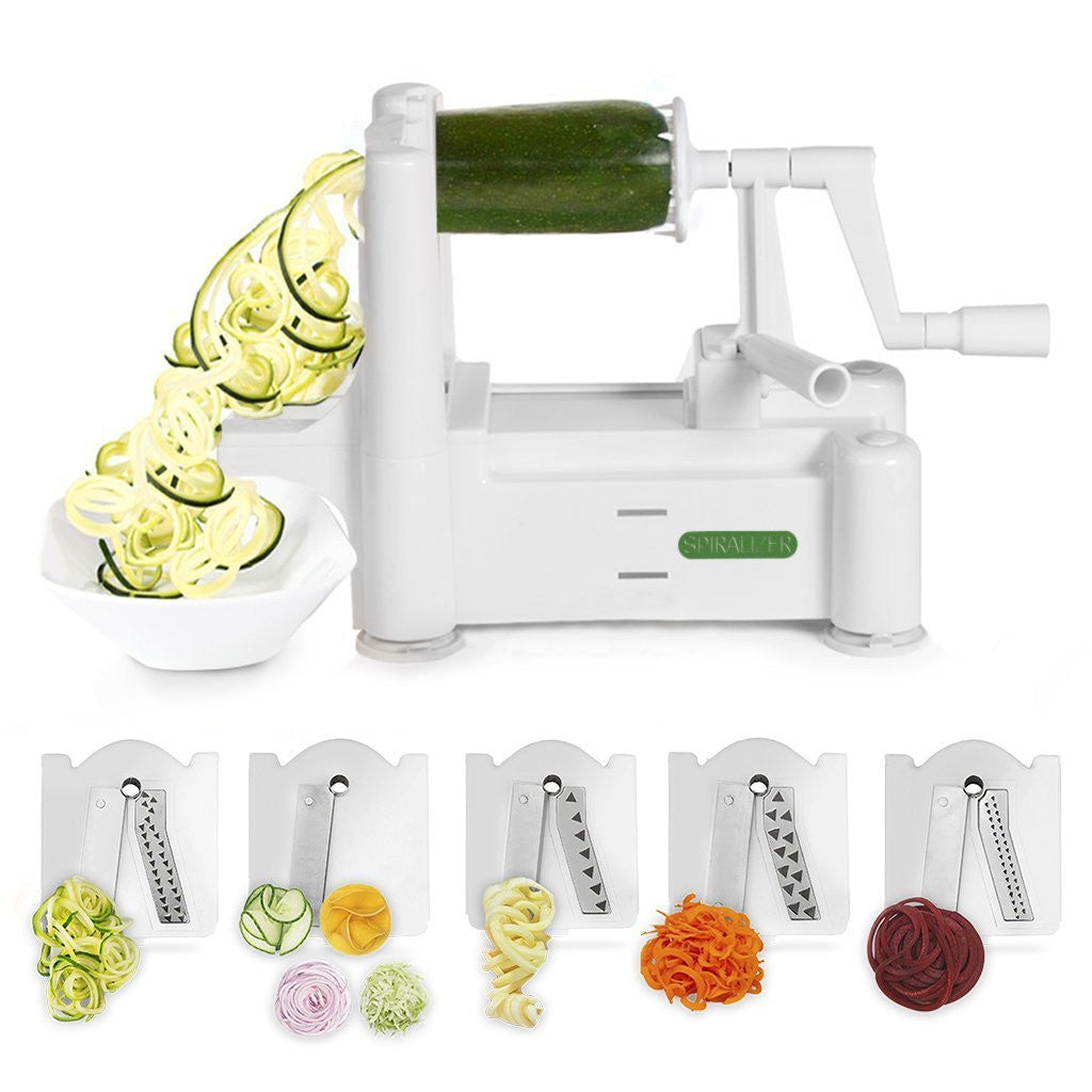 Spiralizer 5-Blade Vegetable Slicer With 3 Exclusive Recipe eBooks
