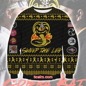 The Karate Kid Cobra Kai Knitting Pattern All Over Print Ugly Sweatshirt