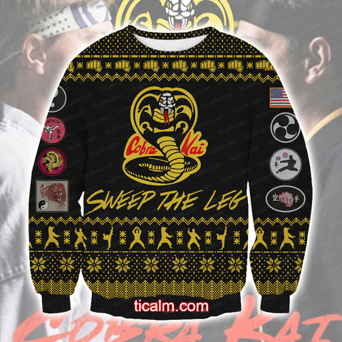 Image of The Karate Kid Cobra Kai Knitting Pattern All Over Print Ugly Sweatshirt