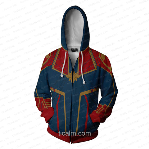 Image of Avengers: Infinity War Captain Marvel Green Suit Zip Up Hoodie