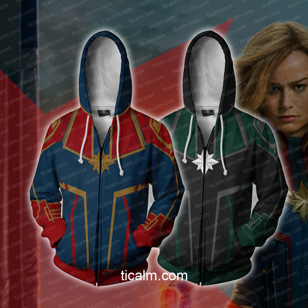 Avengers: Infinity War Captain Marvel Green Suit Zip Up Hoodie