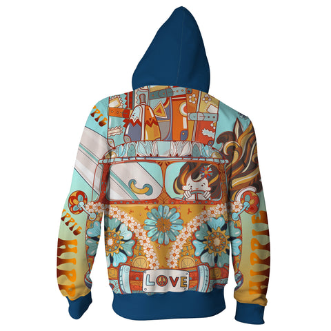 Image of HIPPIE CAR  Zip Up Hoodie