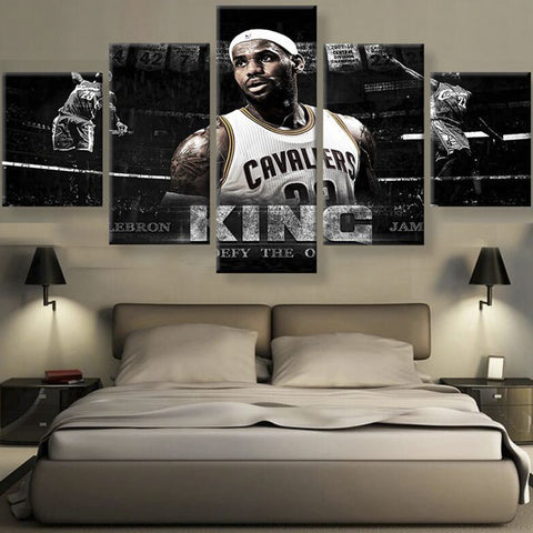 King of Basketball LeBron James 5 Pieces Canvas Poster