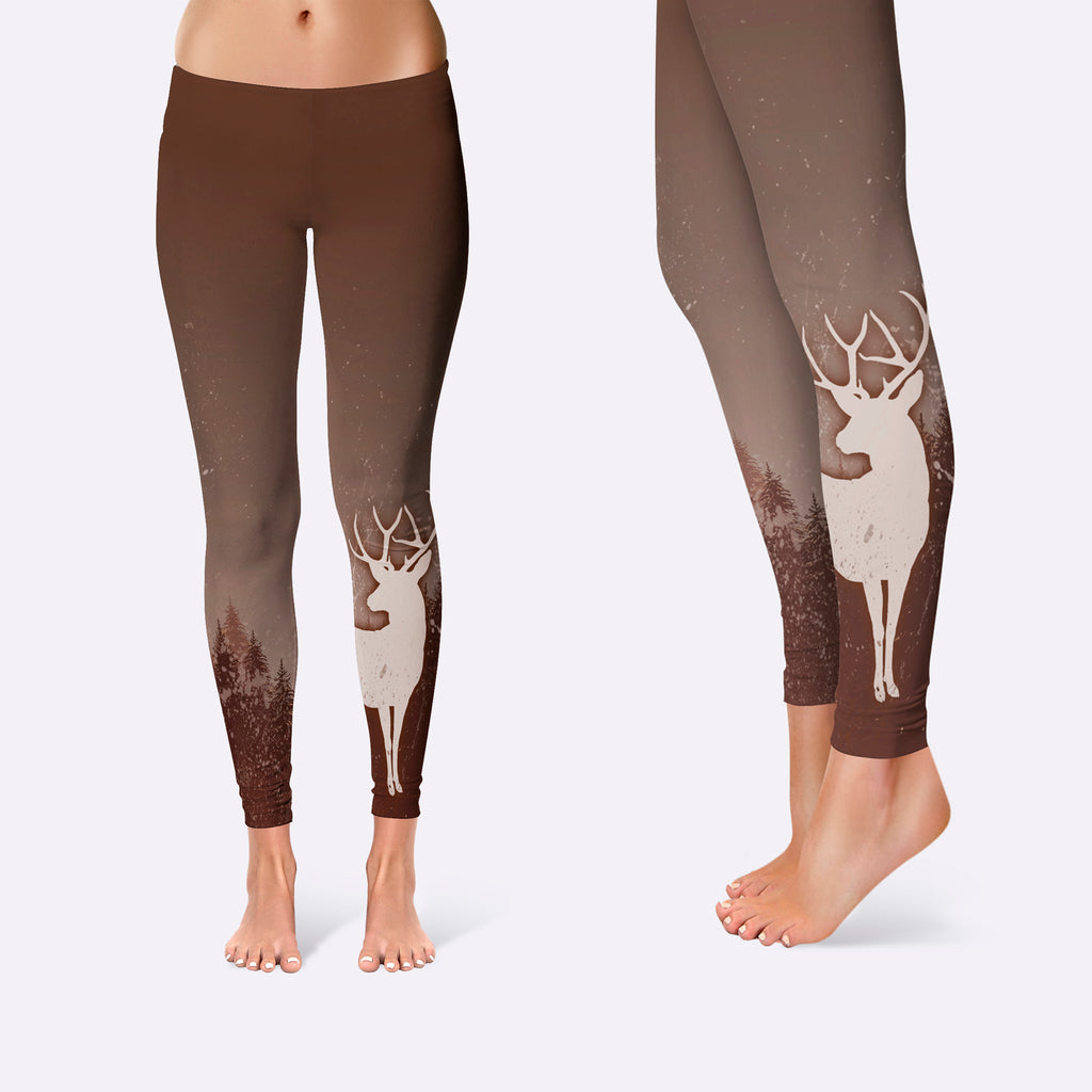 BLUR BROWN TREE AND DEER Leggings