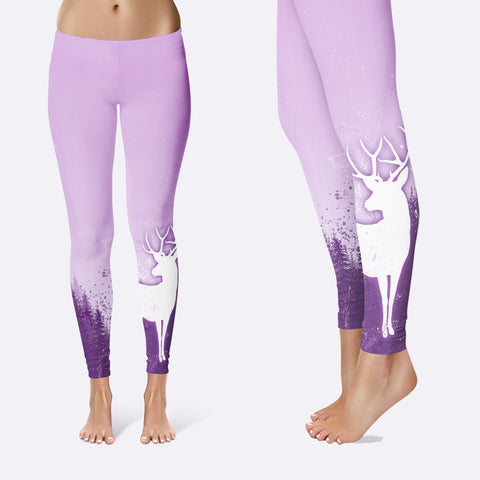 BLUR PURPLE TREE AND DEER Leggings