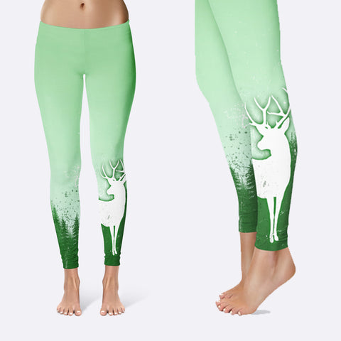 BLUR GREEN TREE AND DEER Leggings