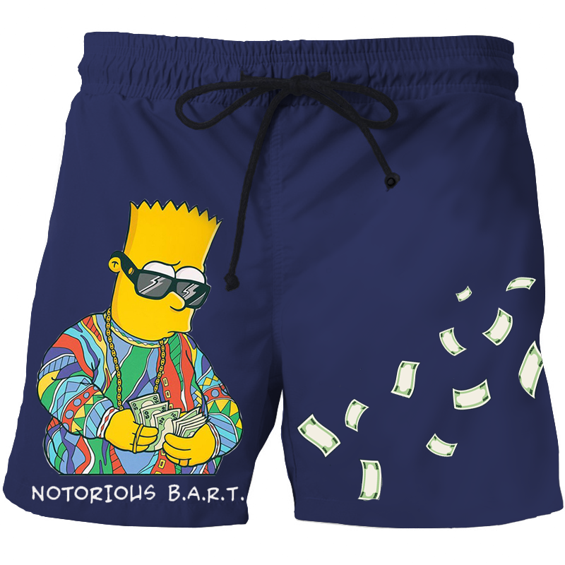 BART SIMPSON HIGH QUALITY 3D PRINT SUMMER MEN SHORTS