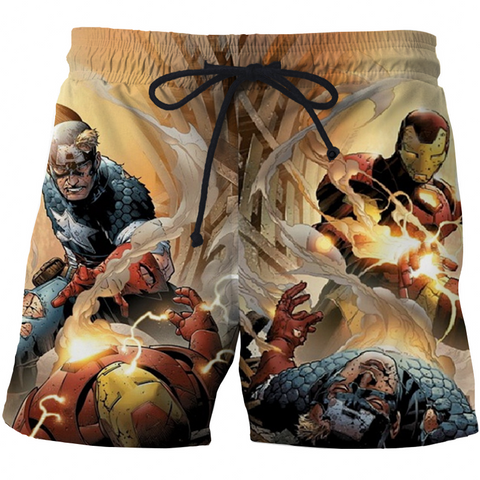 Image of Captain America High Quality 3D Print Summer Men's Shorts