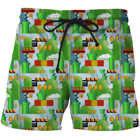 Image of Mario High Quality 3D Print Summer Men's Shorts