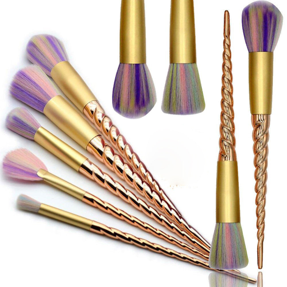 Gold Unicorn Rainbow Makeup Brushes 10 pcs/1 set