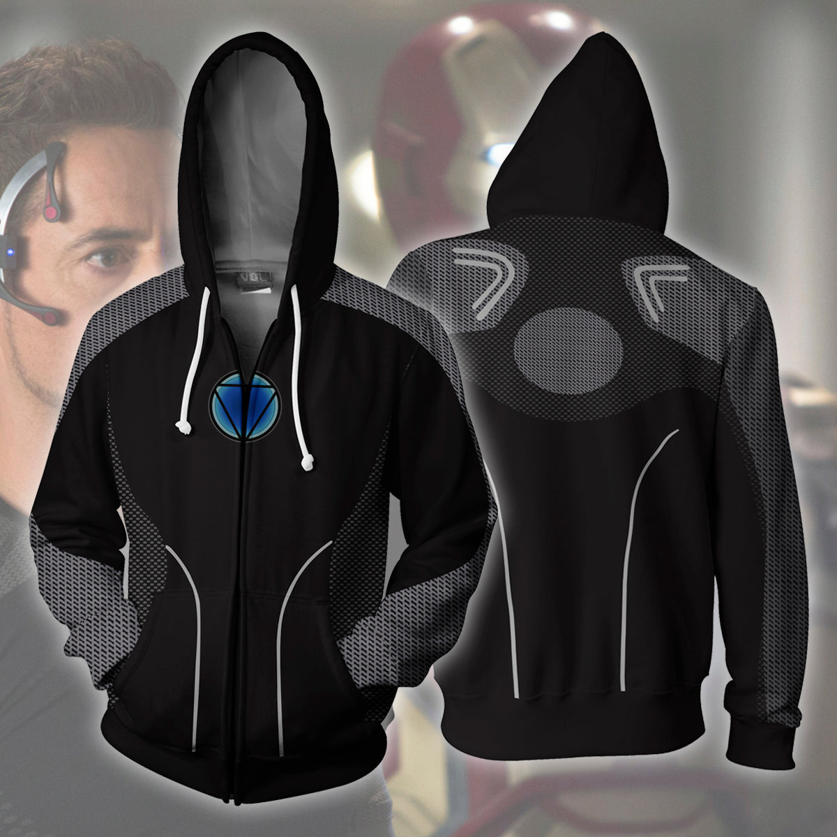 Iron Man Black Zip Up Hoodie