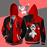 Harley Quinn Black and Red Cosplay Zip Up Hoodie