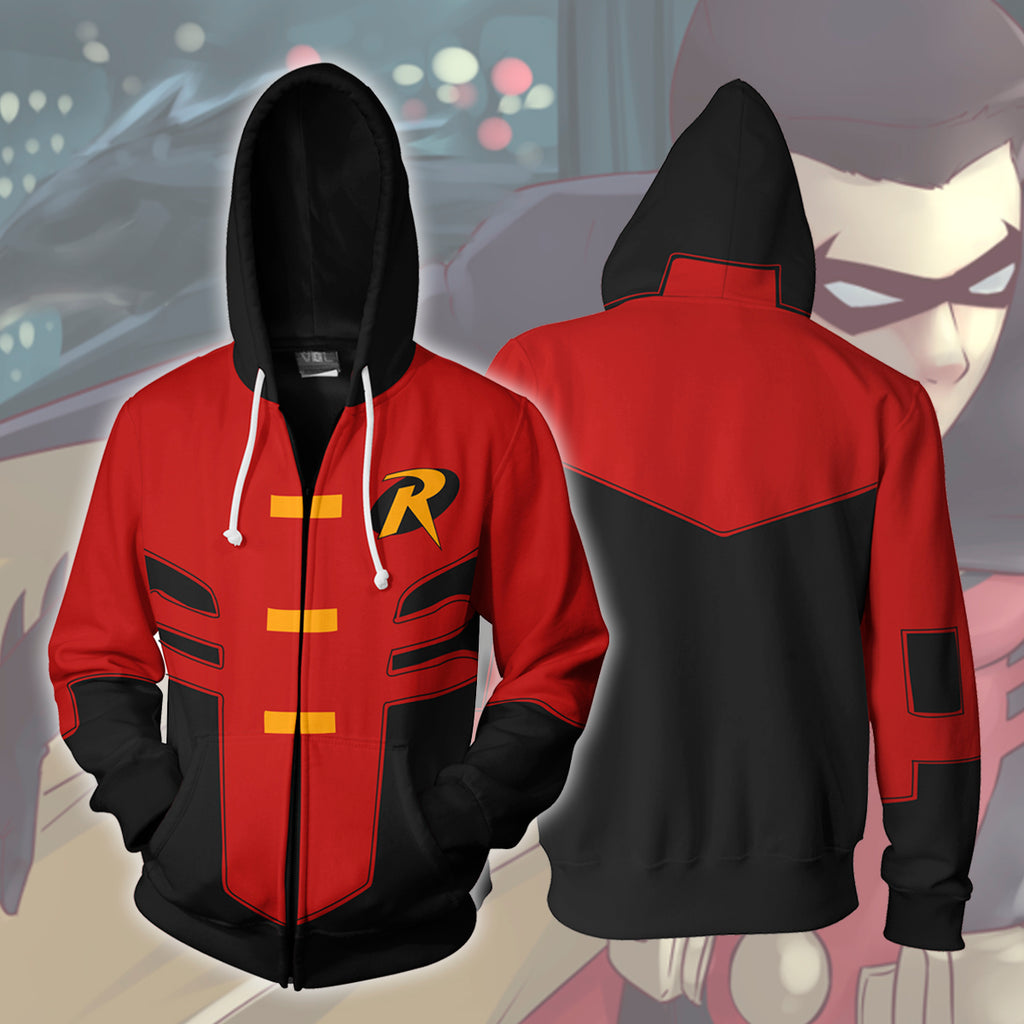 Robin Tim Drake Young Justice Zip Up Hoodie