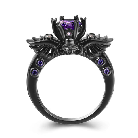 Black Gold Filled Amethyst Vintage Skull Shaped Ring