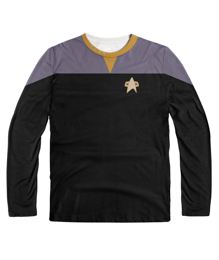 Star Trek DS9 Shirt Yellow Collar Long Sleeve Shirt