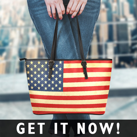 Image of America Flag Small Leather Tote Bag