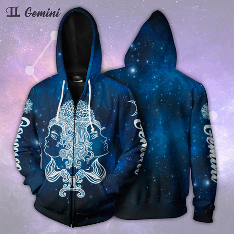 Image of Gemini Galaxy Zip Up Hoodie