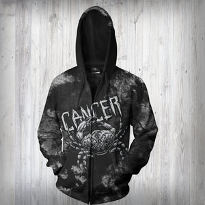CANCER MAN - SYMBOL ON BACK - ZODIAC Zip Up Hoodie