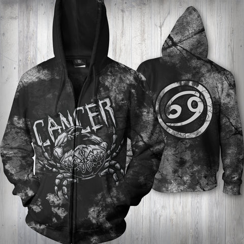 Image of CANCER MAN - SYMBOL ON BACK - ZODIAC Zip Up Hoodie