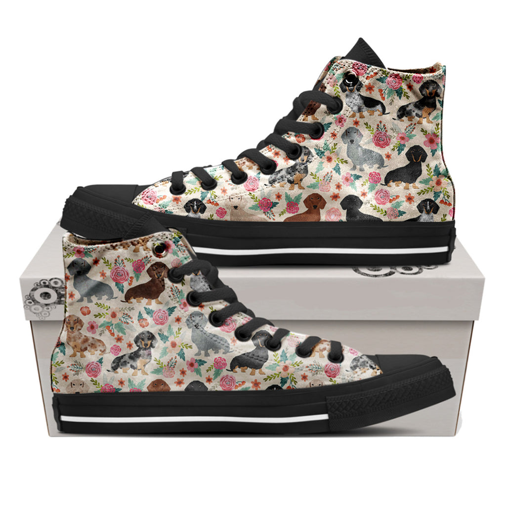 Dachshund Flower High Top Shoes
