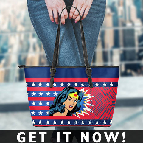Image of Wonder woman Small Leather Tote Bag