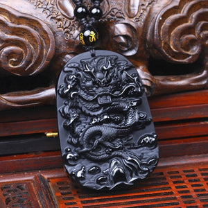 Natural Black Obsidian Dragon Carved Pendant Necklace
