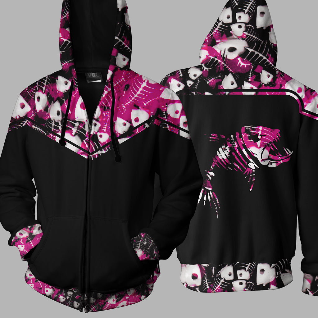 FISH BONE PINK  Zip Up Hoodie