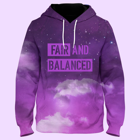 Image of FAIR & BALANCED -Libra Constellation Purple Pull Over Hoodie