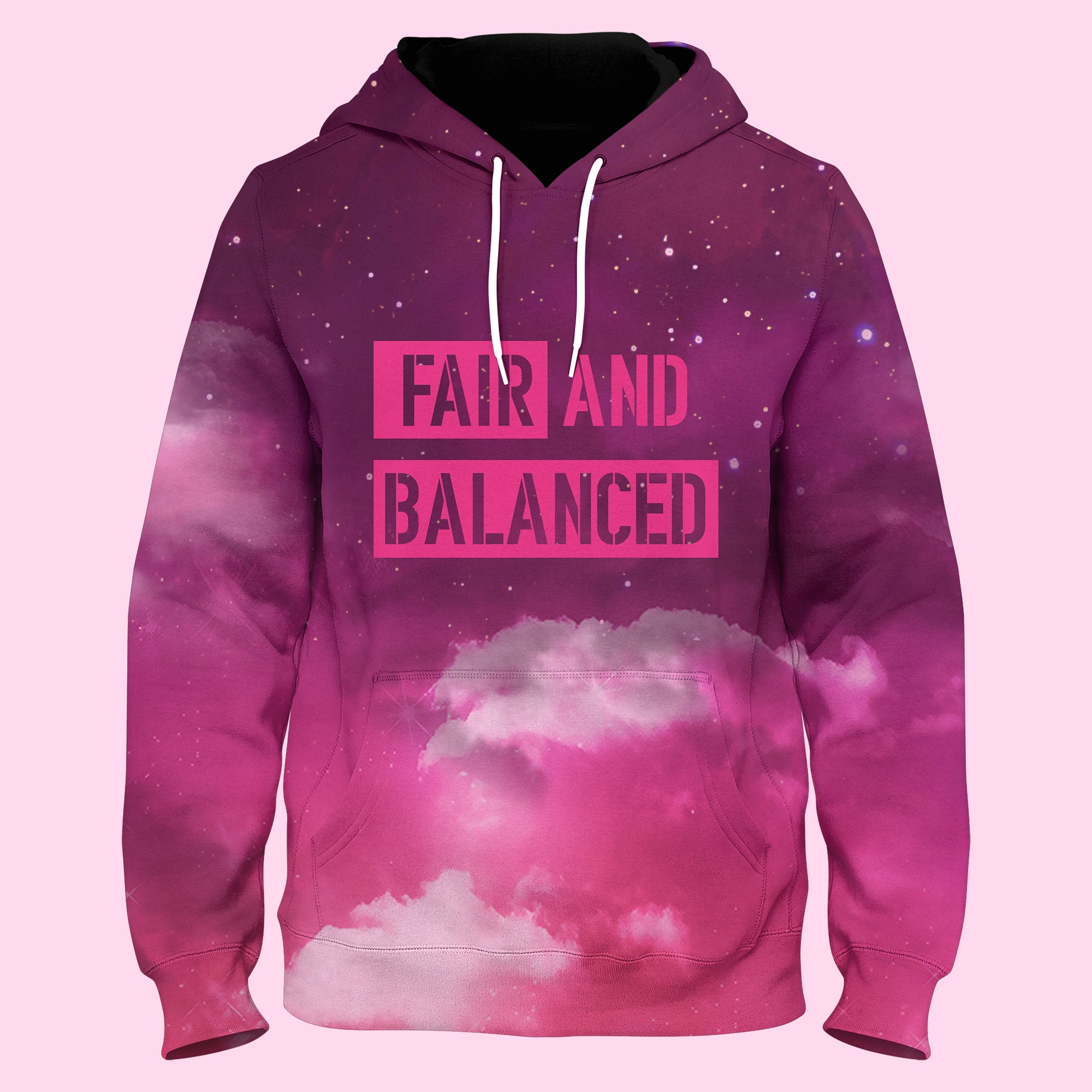 FAIR & BALANCED -Libra Constellation Pink Pull Over Hoodie