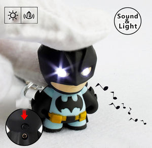 1pcs The Avengers Batman LED Flashlight Action Figure Toys With Sound Keychains