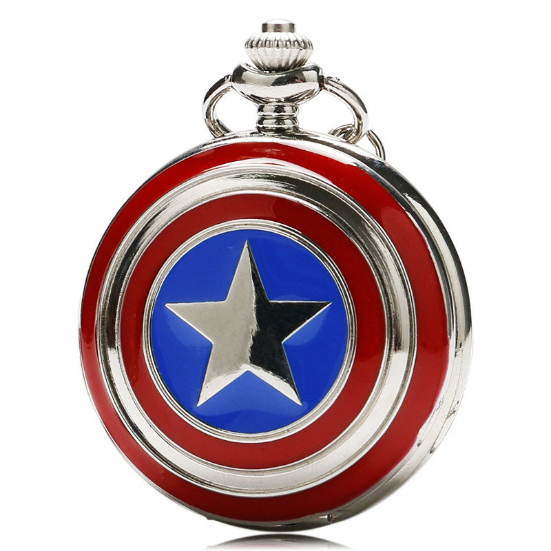 Captain America Icon Quartz Pocket Watch Star Pendant Necklace Chain
