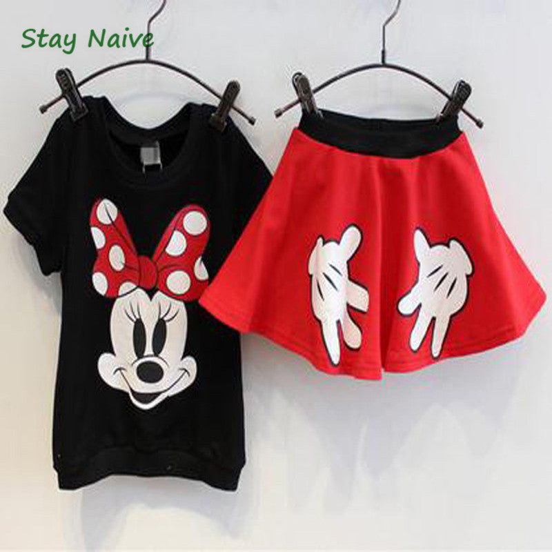 Mickey Minnie Pure Cotton T Shirt+ skirts 2pcs Kids Clothes