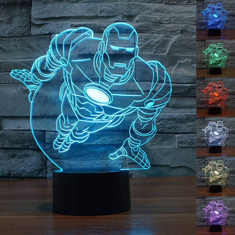 Colourful Iron Man 3D Table Lamp Luminaria LED Night Lights