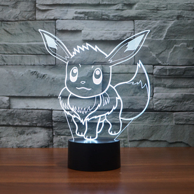 Pokemon Cartoon Figure 3D Light Color Changed