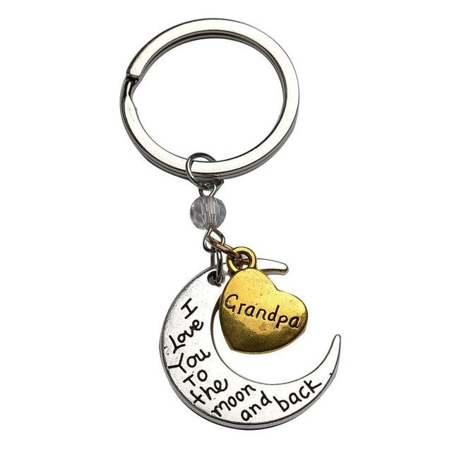 Keychain Jewelry Sliver Moon Golden Heart For People You Love