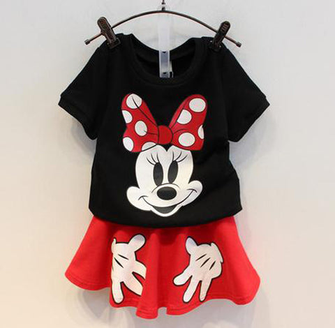 Image of Mickey Minnie Pure Cotton T Shirt+ skirts 2pcs Kids Clothes