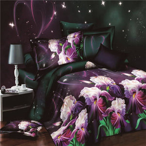 Plant Blue flower 3D Polyester Bedding Set of Duvet Cover set Bed Sheet Pillowcase Bed Clothes Queen size