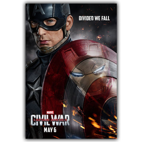 Image of Captain America infinity war 3 Civil War Silk Canvas Fabric Poster