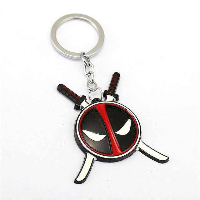 2 Colors Superhero Deadpool Mask Keychain