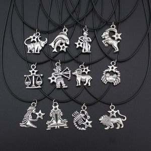12 Zodiac Signs Necklace _ Jewelry Vintage Silver