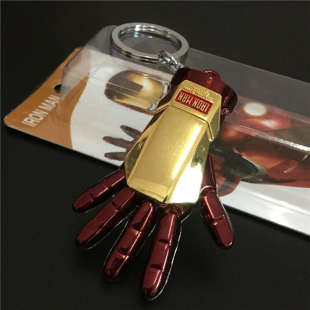 1pc Superhero Iron Man Gloves 5cm Model Metal  Pendant Keychain