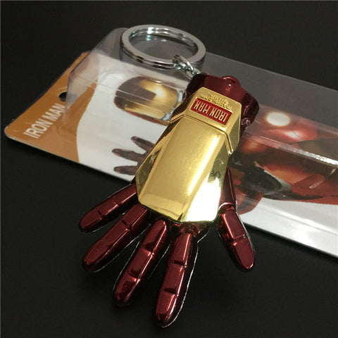 Image of 1pc Superhero Iron Man Gloves 5cm Model Metal  Pendant Keychain