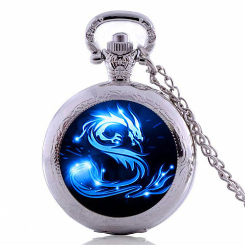 Image of Blue Dragon  Pocket Watch Necklace